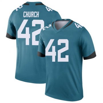 Youth Nike Jacksonville Jaguars Barry Church Teal Color Rush Jersey - Legend