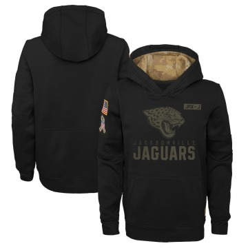 Youth Nike Jacksonville Jaguars Black 2020 Salute to Service Pullover Performance Hoodie -