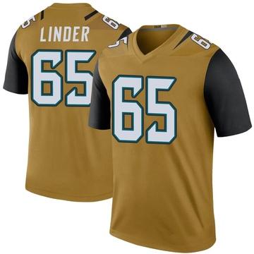 Youth Nike Jacksonville Jaguars Brandon Linder Gold Color Rush Bold Jersey - Legend
