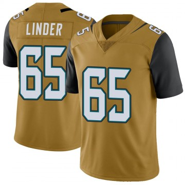 Youth Nike Jacksonville Jaguars Brandon Linder Gold Color Rush Vapor Untouchable Jersey - Limited
