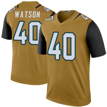 Youth Nike Jacksonville Jaguars Brandon Watson Gold Color Rush Bold Jersey - Legend