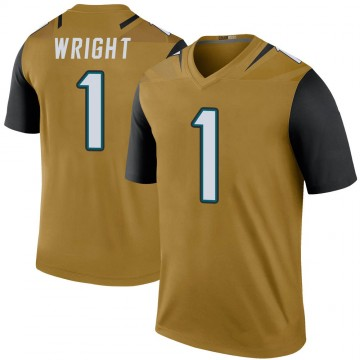 Youth Nike Jacksonville Jaguars Brandon Wright Gold Color Rush Bold Jersey - Legend