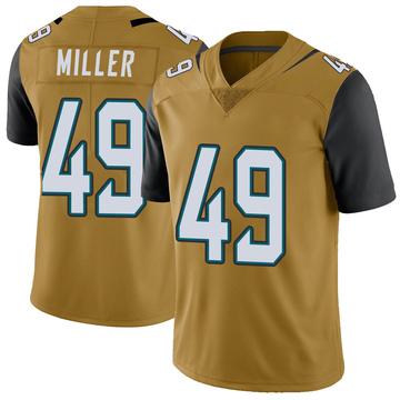 Youth Nike Jacksonville Jaguars Bruce Miller Gold Color Rush Vapor Untouchable Jersey - Limited