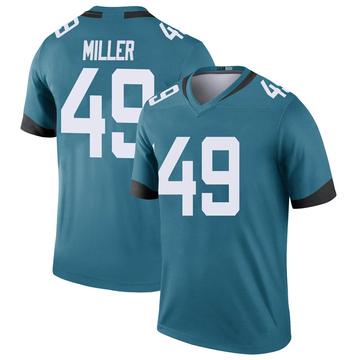 Youth Nike Jacksonville Jaguars Bruce Miller Teal Color Rush Jersey - Legend