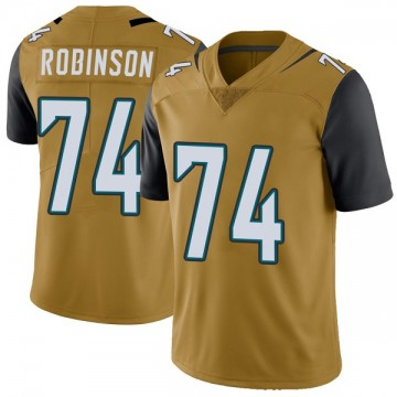 Youth Nike Jacksonville Jaguars Cam Robinson Gold Color Rush Vapor Untouchable Jersey - Limited