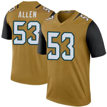 Youth Nike Jacksonville Jaguars Dakota Allen Gold Color Rush Bold Jersey - Legend