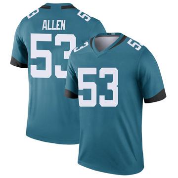 Youth Nike Jacksonville Jaguars Dakota Allen Teal Color Rush Jersey - Legend