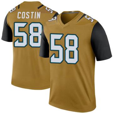 Youth Nike Jacksonville Jaguars Doug Costin Gold Color Rush Bold Jersey - Legend