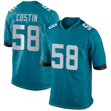Youth Nike Jacksonville Jaguars Doug Costin Teal Jersey - Game