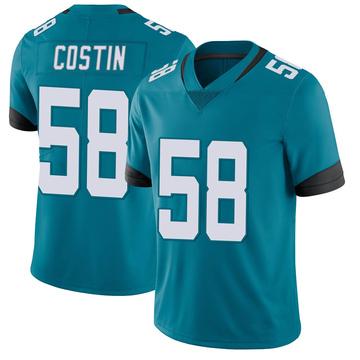 Youth Nike Jacksonville Jaguars Doug Costin Teal Vapor Untouchable Jersey - Limited