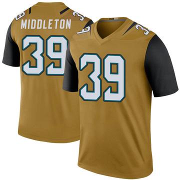 Youth Nike Jacksonville Jaguars Doug Middleton Gold Color Rush Bold Jersey - Legend