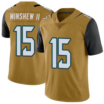 Youth Nike Jacksonville Jaguars Gardner Minshew Gold Color Rush Vapor Untouchable Jersey - Limited