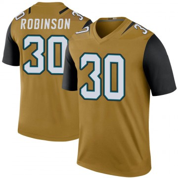 Youth Nike Jacksonville Jaguars James Robinson Gold Color Rush Bold Jersey - Legend
