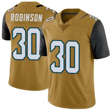 Youth Nike Jacksonville Jaguars James Robinson Gold Color Rush Vapor Untouchable Jersey - Limited