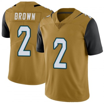 Youth Nike Jacksonville Jaguars Jonathan Brown Gold Color Rush Vapor Untouchable Jersey - Limited