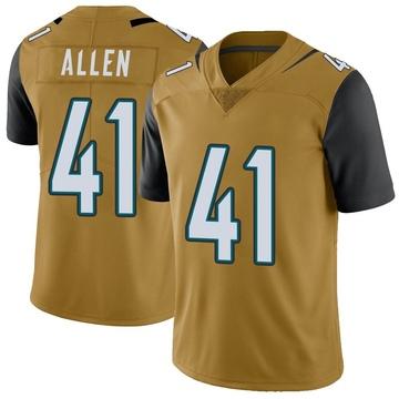 Youth Nike Jacksonville Jaguars Josh Allen Gold Color Rush Vapor Untouchable Jersey - Limited