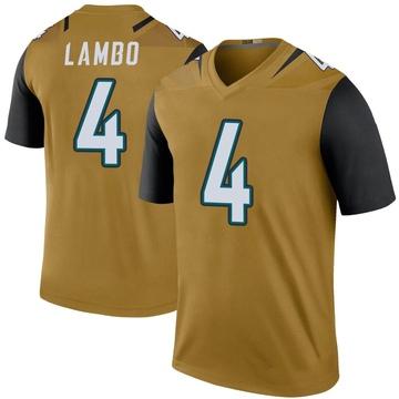 Youth Nike Jacksonville Jaguars Josh Lambo Gold Color Rush Bold Jersey - Legend