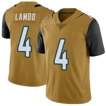 Youth Nike Jacksonville Jaguars Josh Lambo Gold Color Rush Vapor Untouchable Jersey - Limited