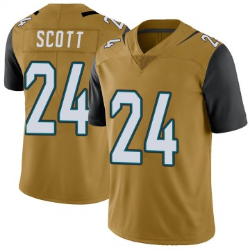 Youth Nike Jacksonville Jaguars Josiah Scott Gold Color Rush Vapor Untouchable Jersey - Limited