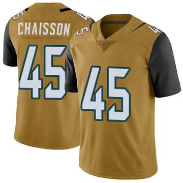 Youth Nike Jacksonville Jaguars K'Lavon Chaisson Gold Color Rush Vapor Untouchable Jersey - Limited