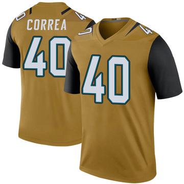 Youth Nike Jacksonville Jaguars Kamalei Correa Gold Color Rush Bold Jersey - Legend