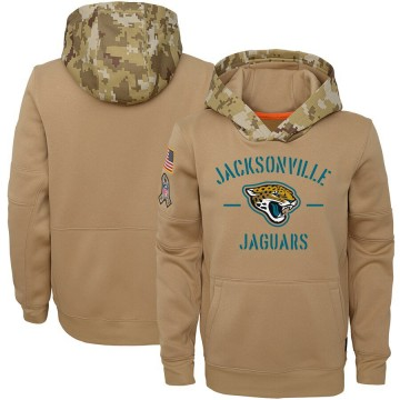 Youth Nike Jacksonville Jaguars Khaki 2019 Salute to Service Therma Pullover Hoodie -