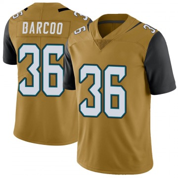 Youth Nike Jacksonville Jaguars Luq Barcoo Gold Color Rush Vapor Untouchable Jersey - Limited