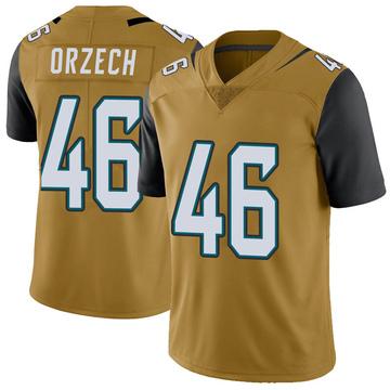 Youth Nike Jacksonville Jaguars Matthew Orzech Gold Color Rush Vapor Untouchable Jersey - Limited