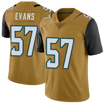 Youth Nike Jacksonville Jaguars Nate Evans Gold Color Rush Vapor Untouchable Jersey - Limited
