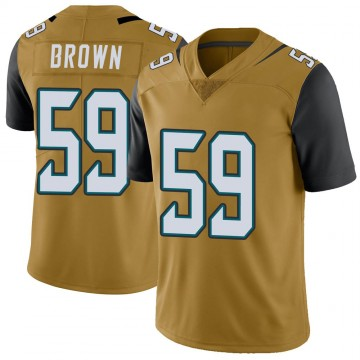 Youth Nike Jacksonville Jaguars Preston Brown Gold Color Rush Vapor Untouchable Jersey - Limited