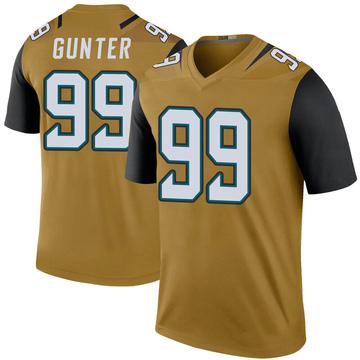 Youth Nike Jacksonville Jaguars Rodney Gunter Gold Color Rush Bold Jersey - Legend