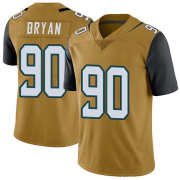 Youth Nike Jacksonville Jaguars Taven Bryan Gold Color Rush Vapor Untouchable Jersey - Limited