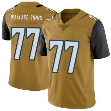 Youth Nike Jacksonville Jaguars Tre'Vour Wallace-Simms Gold Color Rush Vapor Untouchable Jersey - Limited