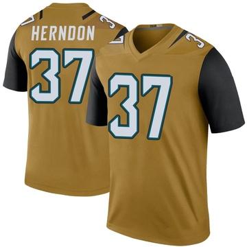 Youth Nike Jacksonville Jaguars Tre Herndon Gold Color Rush Bold Jersey - Legend