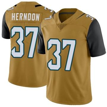 Youth Nike Jacksonville Jaguars Tre Herndon Gold Color Rush Vapor Untouchable Jersey - Limited