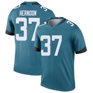 Youth Nike Jacksonville Jaguars Tre Herndon Teal Color Rush Jersey - Legend