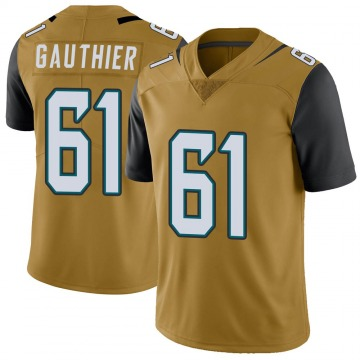 Youth Nike Jacksonville Jaguars Tyler Gauthier Gold Color Rush Vapor Untouchable Jersey - Limited