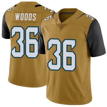 Youth Nike Jacksonville Jaguars Zedrick Woods Gold Color Rush Vapor Untouchable Jersey - Limited